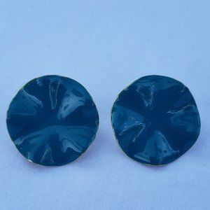Abstract Shaped Blue Clip-On Earrings